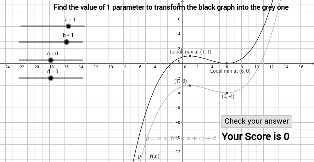 Graph transformation game - find 1 parameter