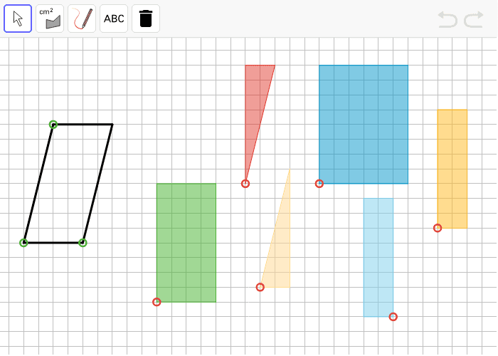 Change the parallelogram by dragging the green points at its vertices. Then use any 1 or more of the colored polygons to help find its area.  Press Enter to start activity