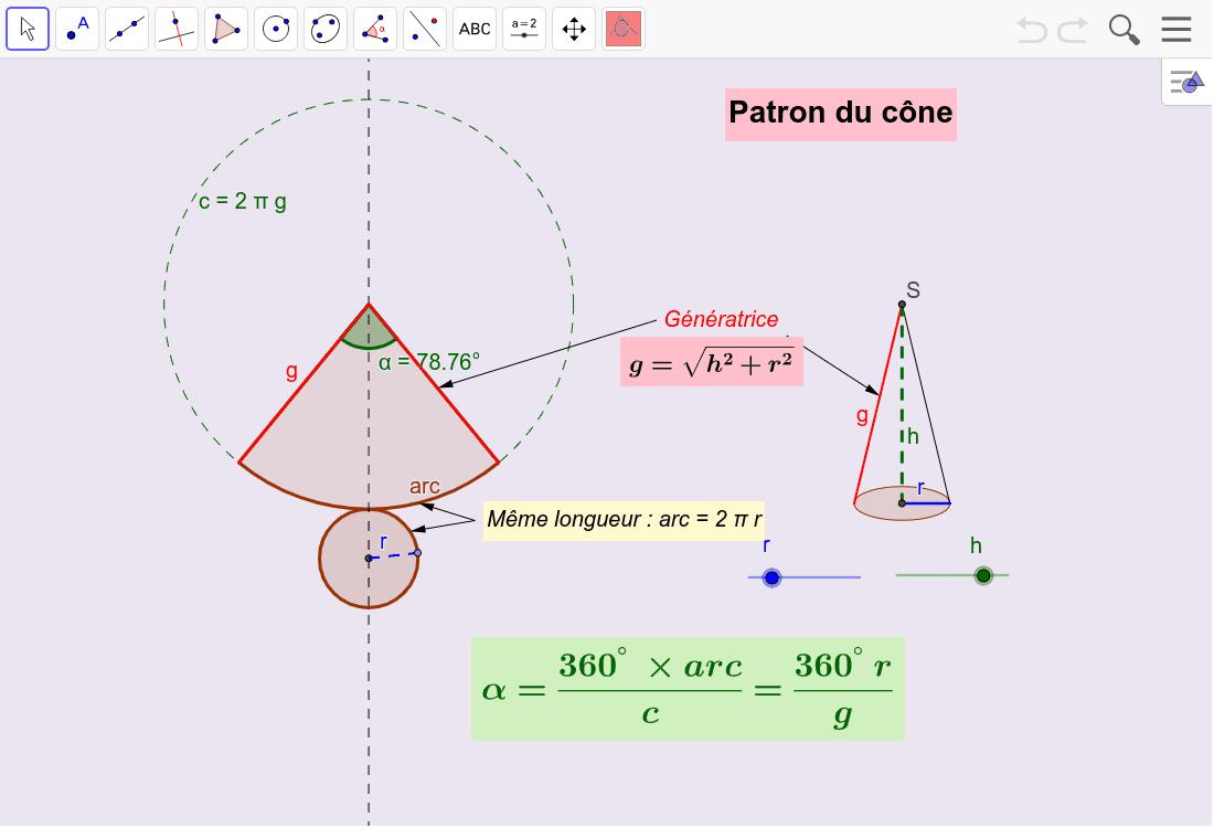 """Calcul du patron du cône de révolution Tapez """"Entrée"""" pour démarrer l'activité"""