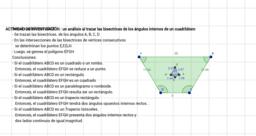 Análisis al trazar las bisectrices de los ángulos internos de un cuadrilátero