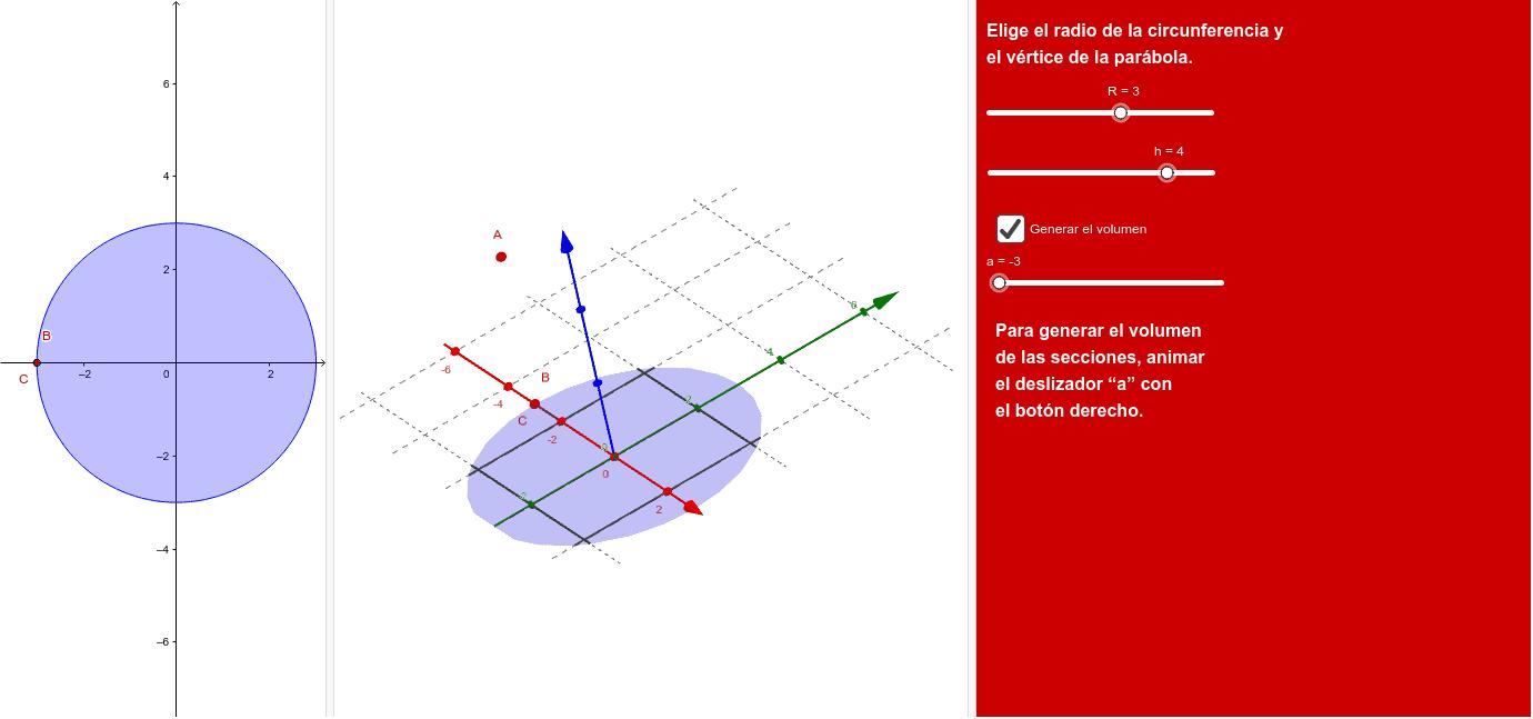 """La base es una circunferencia de radio R y las secciones son parábolas de """"altura"""" h."""