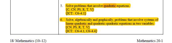 Curricular Links: Math 20-1 Relations and Functions Specific Outcomes