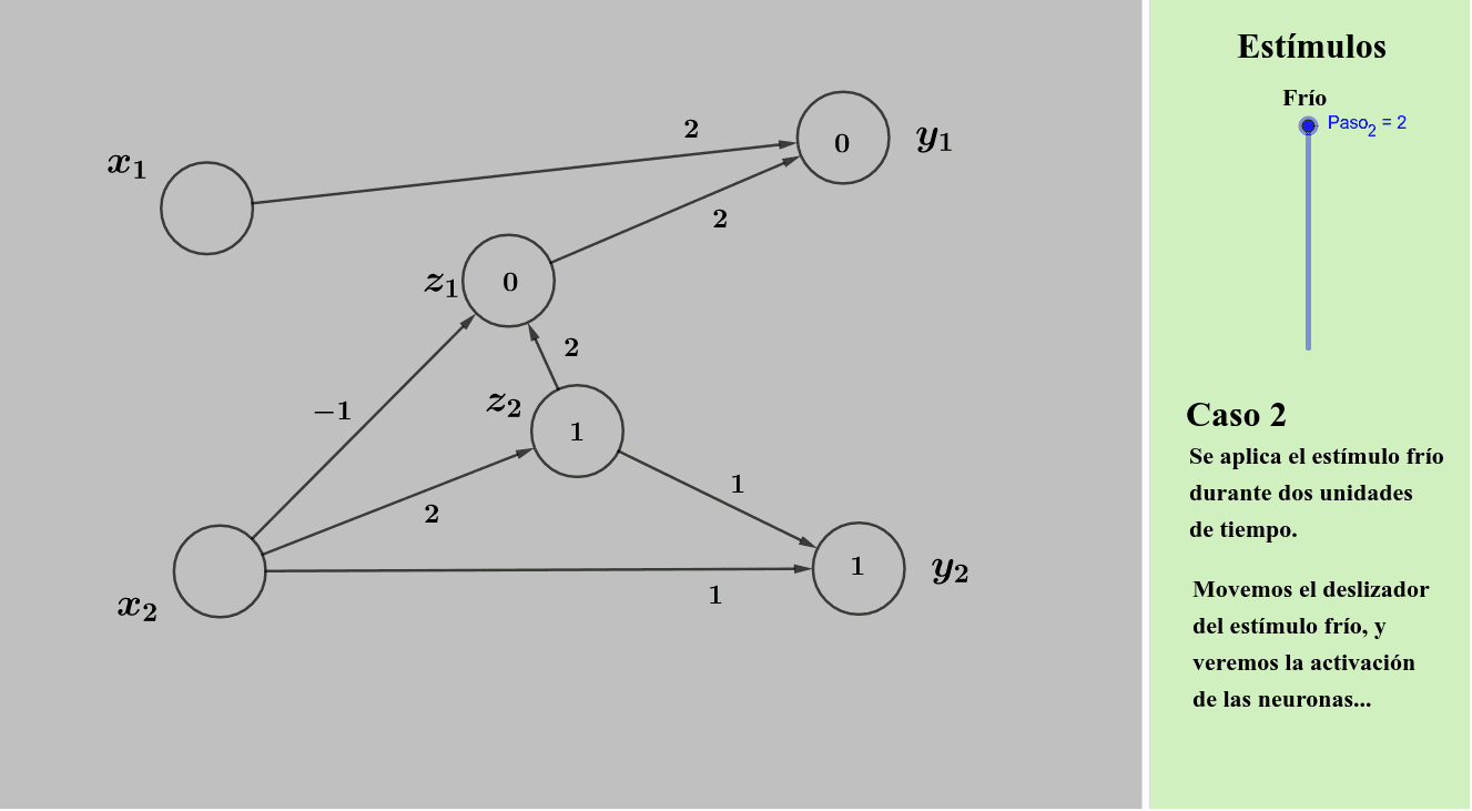 Caso 2: Aplicación de frío durante dos unidades de tiempo