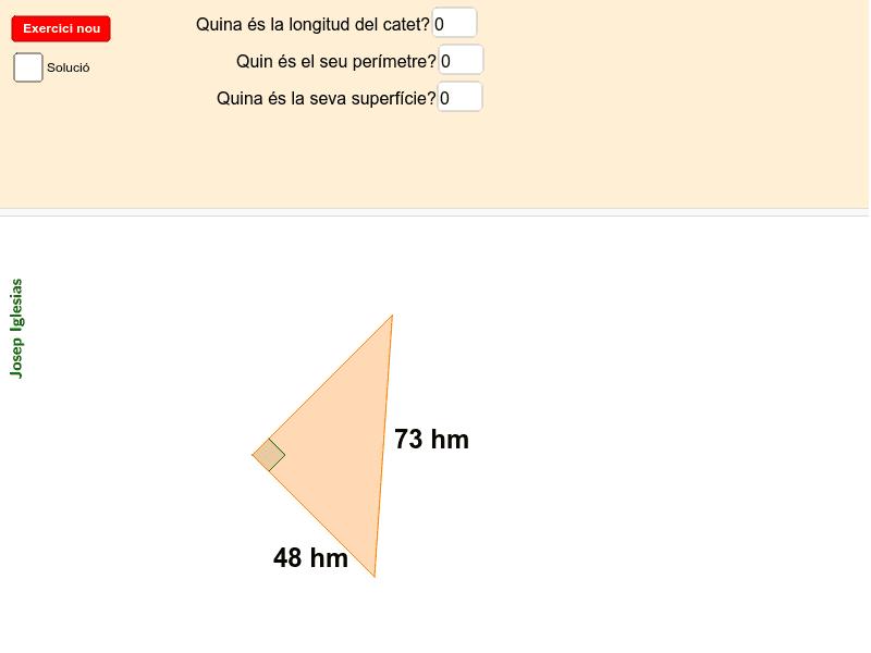 Esbrina el catet o la hipotenusa i calcula l'àrea i el perímetre. Premeu Enter per iniciar l'activitat