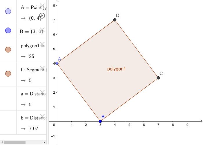Kvadrat, koordinat og afstande m Pythagoras