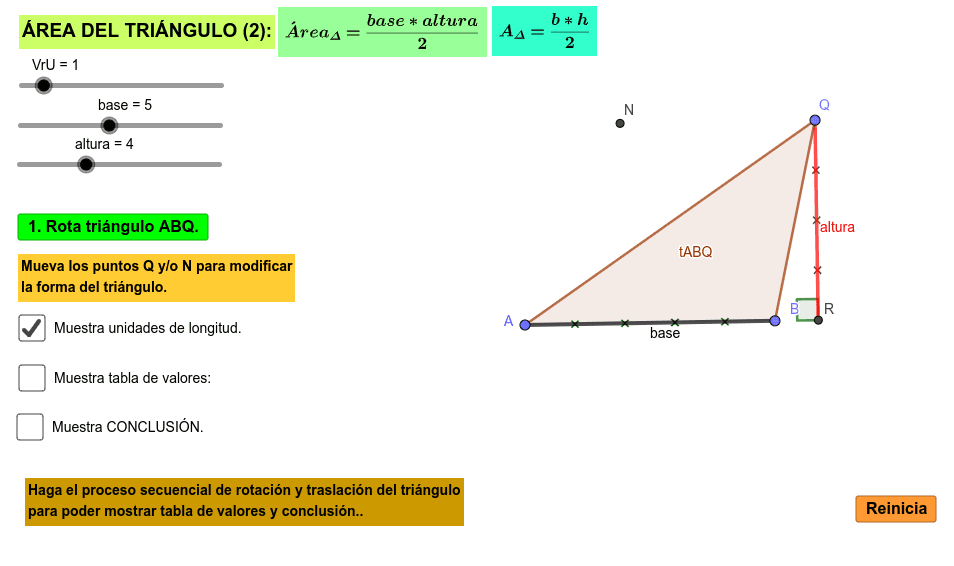Aplicativo para analizar el área de un triángulo a partir del romboide y su fórmula matemática Presiona Intro para comenzar la actividad