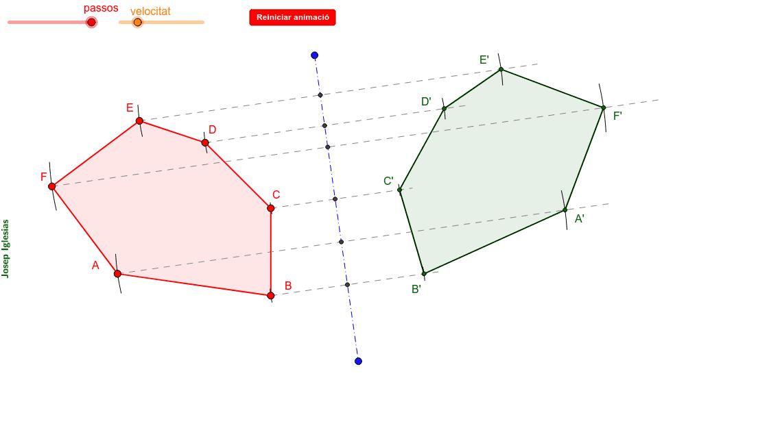 Construcció d'un polígon mitjançant una simetria axial (recta).