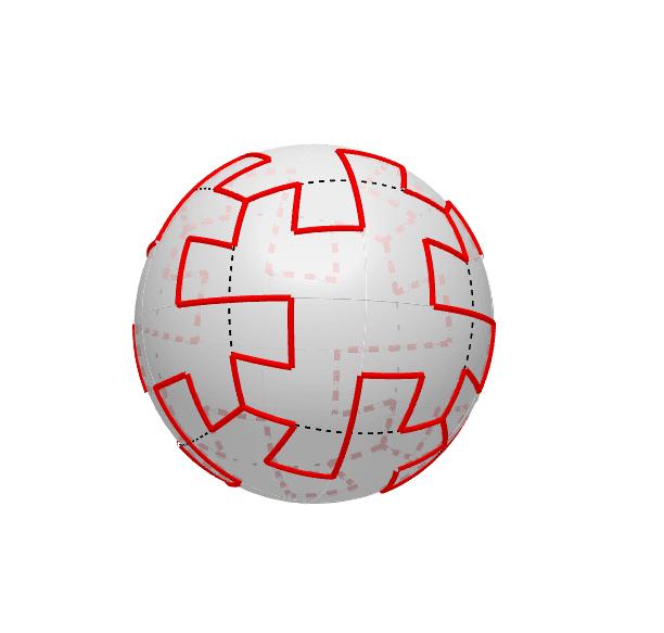 2018年ロシア大会のボール。直線的であるけど、やはり正六面体で構成されている。色は白黒。あれ?右左を間違えてしまった。 Press Enter to start activity