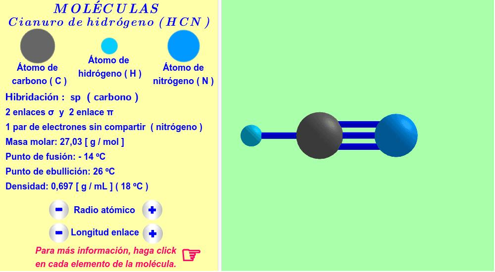 Cianuro de hidrógeno ( haga click en cada elemento de la molécula ).