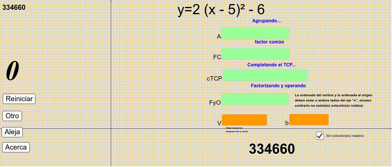 transforma la forma estándar de la función cuadrática a su forma vértice Presiona Intro para comenzar la actividad
