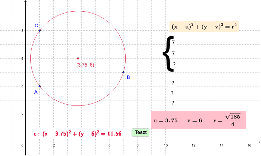 Find the equation of the circle passing 3 points Press Enter to start activity