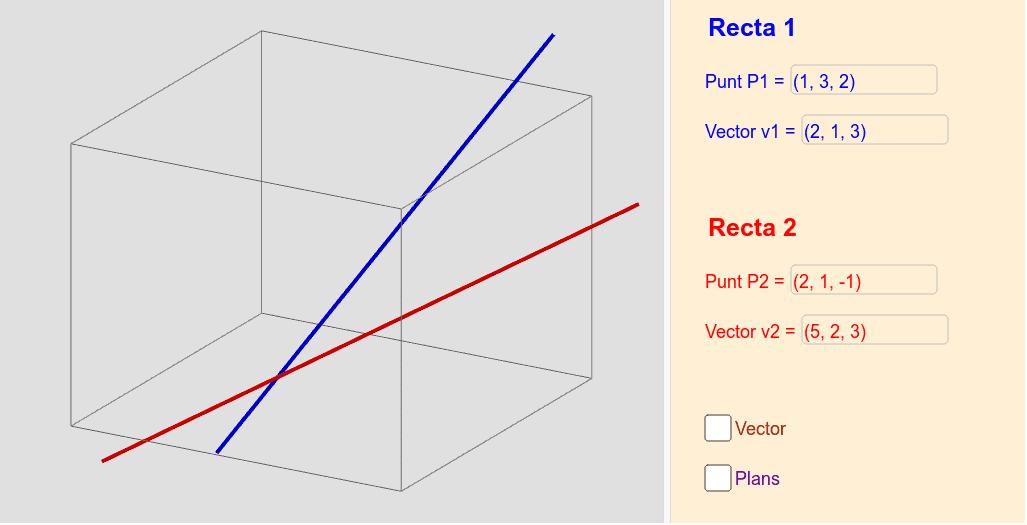 Posició relativa entre dues rectes Premeu Enter per iniciar l'activitat
