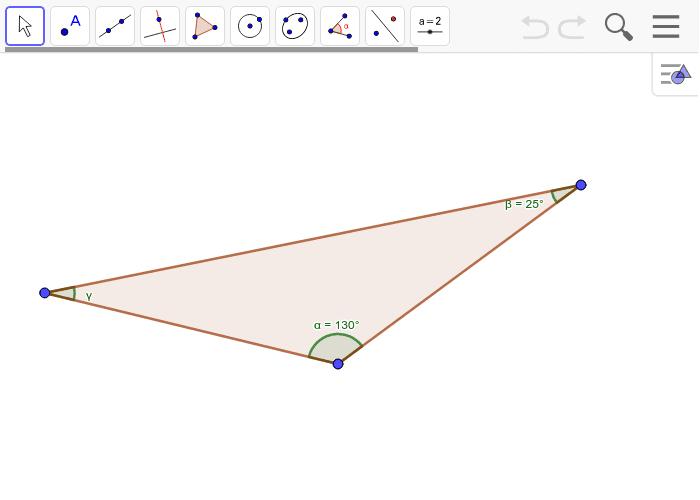 Encuentra la medida del ángulo γ. Encuentra los ángulos externos también con sus correspondientes medidas y halla la suma de ellos Presiona Intro para comenzar la actividad