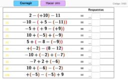 Paréntesis, sumas y restas con 3 números enteros
