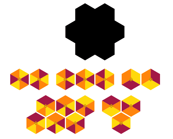 How many ways you can fit the hexagonal tiles on the black frame? Press Enter to start activity