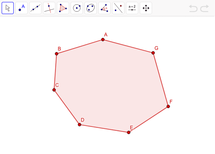 Start at vertex F, use the line segment feature to draw as many triangles as you can that are attached to the other vertices of the polygon. Press Enter to start activity
