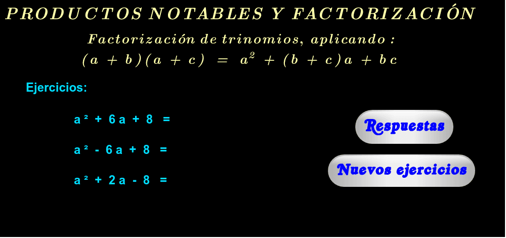 """Ejercicios ( haga click en """"Respuestas"""" y """"Nuevos ejercicios"""" )."""