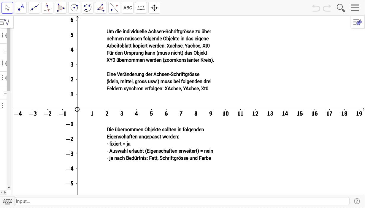 Individuelle Schriftgrösse der Achsen Beschriftung – GeoGebra
