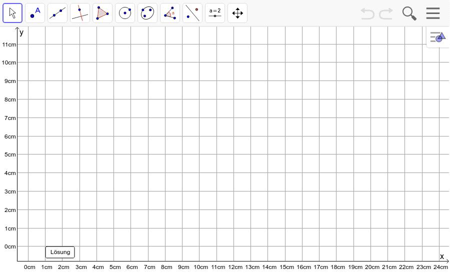 Dreieck 3: A(5/0), B(10/7), C(2/2): Zeichne das Dreieck und konstruiere den Umkreis. Füge den Screenshot der Koordinaten von U im Auftrag in Teams ein! Drücke die Eingabetaste um die Aktivität zu starten