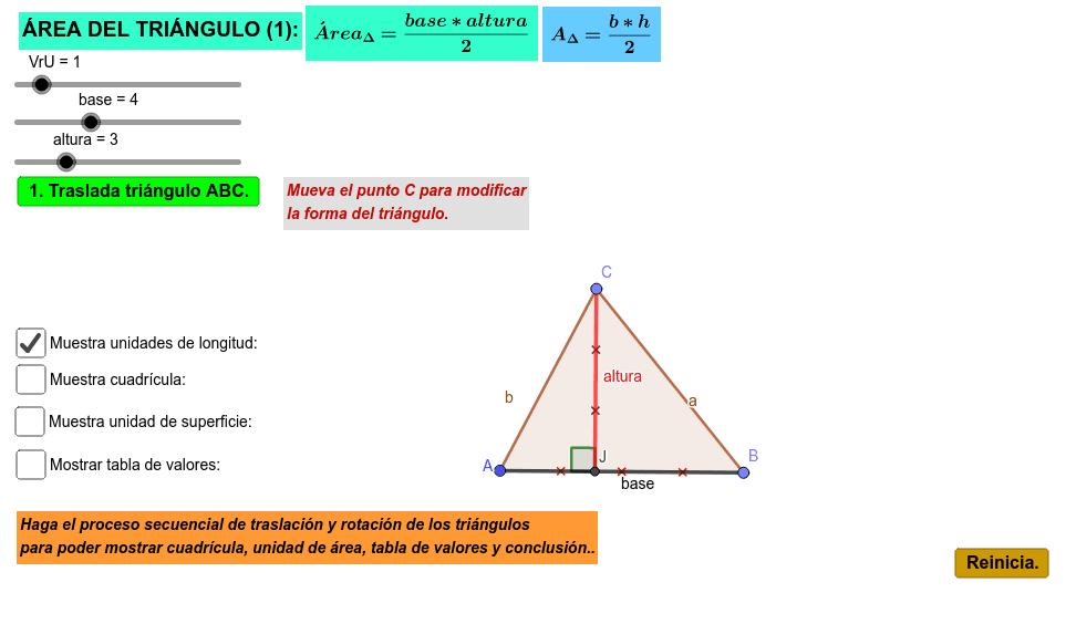 Aplicativo para analizar el área de un triángulo con base en el rectángulo y su fórmula matemática