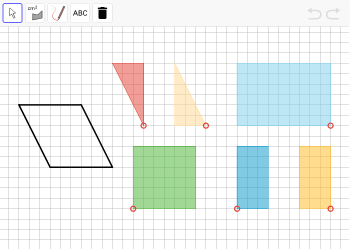 An empty parallelogram is shown on the left. Use any 1 or more of the colored polygons to help find its area.  Press Enter to start activity