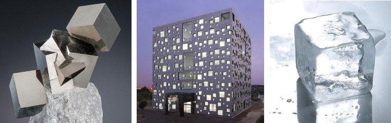 Zleva: krystaly pyritu; budova Cube Tube v Číně, kostka ledu