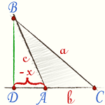 [img]http://profmeter.com.ua.opt-images.1c-bitrix-cdn.ru/upload/medialibrary/1f1/Eqn39.gif?13070912351227[/img] Если угол тупой, то справедлива формула:  [i]a[sup]2[/sup]= b[sup]2[/sup]+ c[sup]2[/sup]+ 2bx.[/i]
