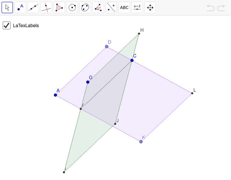Labels automatically generated for points, lines, segments, rays, angles, and planes. Try it out. Press Enter to start activity