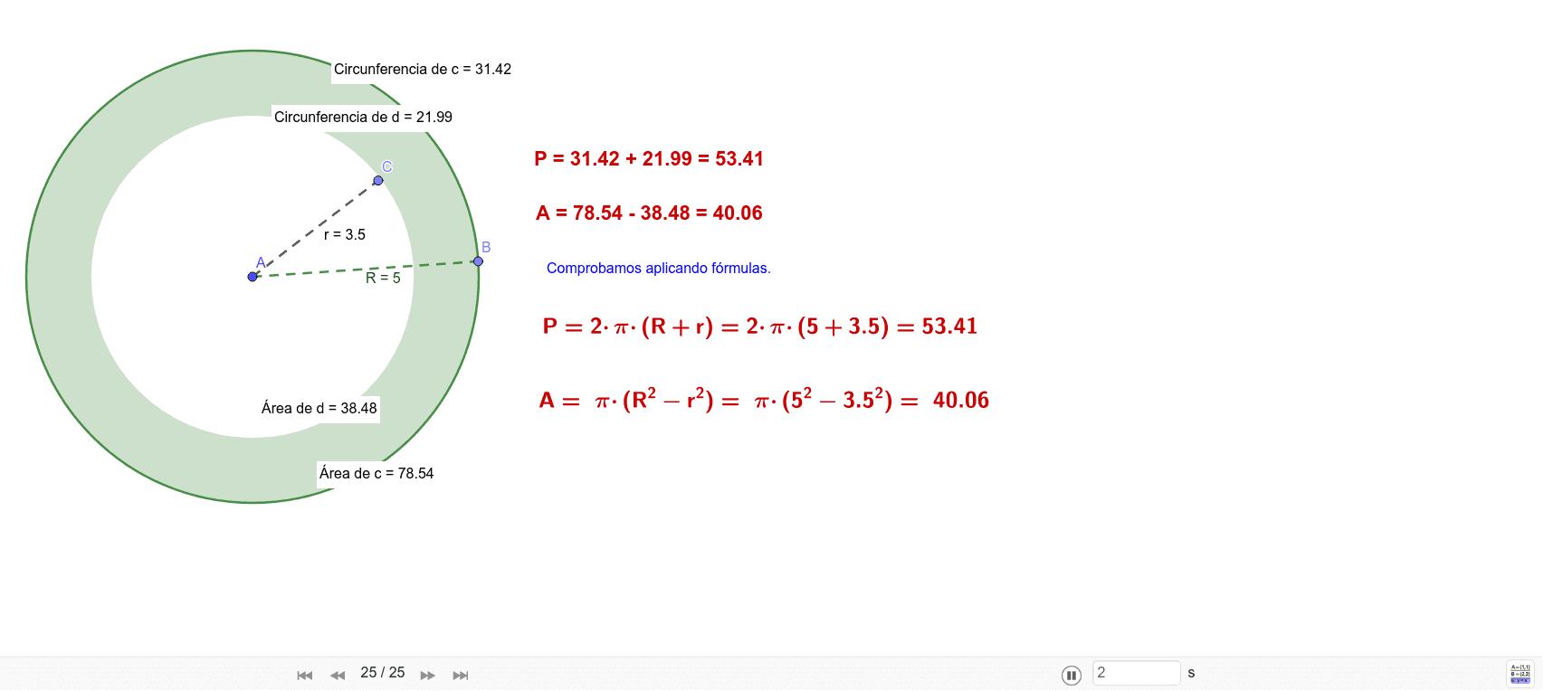 Comprobación del área y perímetro de una corona circular Press Enter to start activity