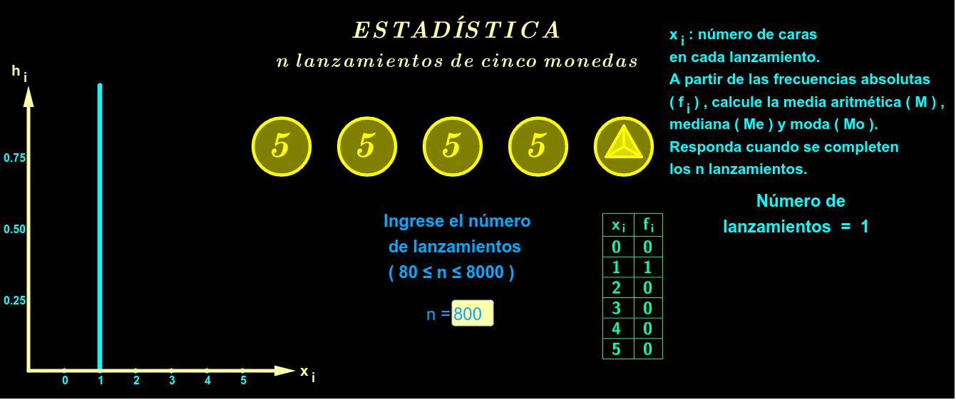Ingrese el número de lanzamientos, pulse play y responda cuando se completen los lanzamientos.
