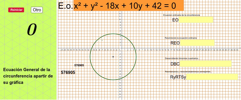 Modifica la ecuación general de la circunferencia a partir de la gráfica mostrada... Presiona Intro para comenzar la actividad