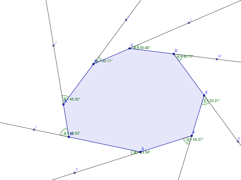 Polygons exterior angle sum geogebra for Sum of exterior angles of a heptagon