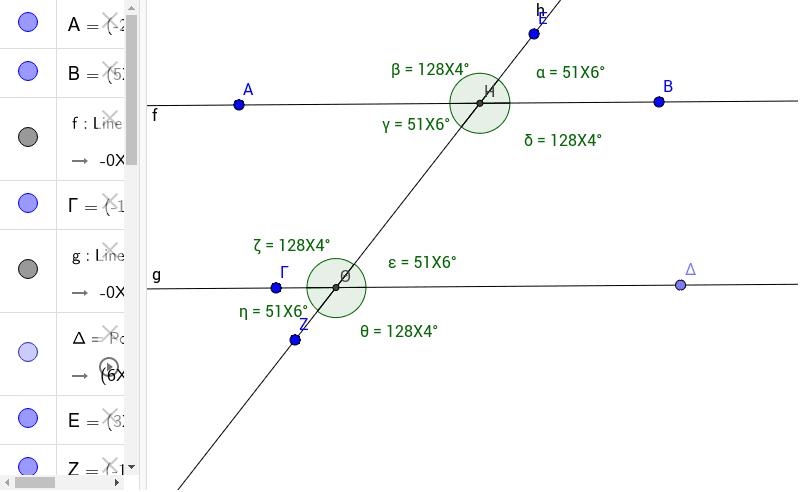 παράλληλες ευθείες που τέμνονται από τρίτη