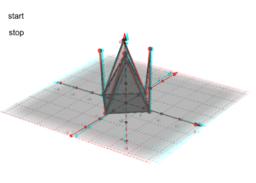 Pyramide und Netz (3D)