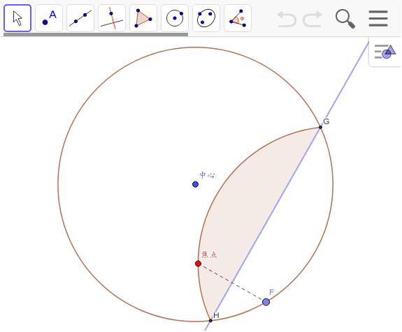 Fを動かしてみましょう。折れ線が楕円を描きます。右クリックして残像をチェック。この点は何?・・・Fと中心を結んでみましょう。すると・・・
