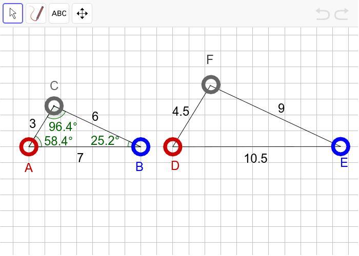 """과제2 다음 두 삼각형이 """"확대 또는 축소하여 합동(닮음)""""인지 판단하고, 그 이유를 설명하시오. 활동을 시작하려면 엔터키를 누르세요."""