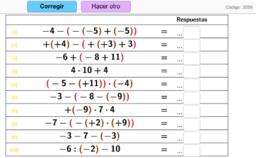 Operaciones combinadas con 3 números enteros