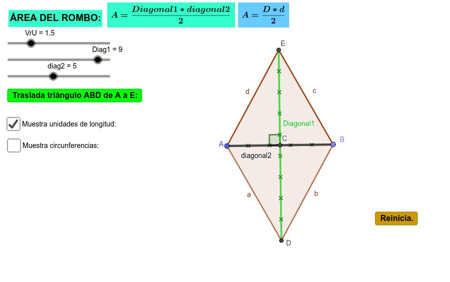 Aplicativo para analizar el área de un rombo y su fórmula matemática