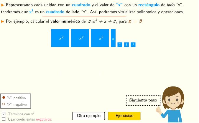 Valor Numérico De Un Polinomio Con Baldosas Algebra Tiles Geogebra