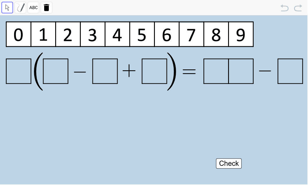Create another true number sentence (equation) different from the three you made above.  Once you do, use the PEN or TEXT tools to clearly illustrate, step by step, how your sentence is correct.  Press Enter to start activity
