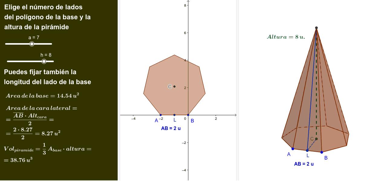 En una pirámide hay que saber el número de lados de la base y la altura.
