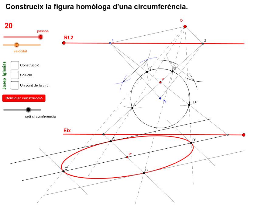 Troba l'el·lipse homòloga de la circumferència, donats l'eix, la recta límit 2 i l'origen d'homologia.