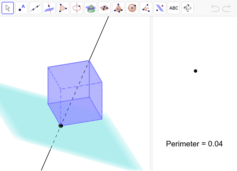 In the left window, drag the black point up through the cube. The cross-section will be shown in the right window. Press Enter to start activity