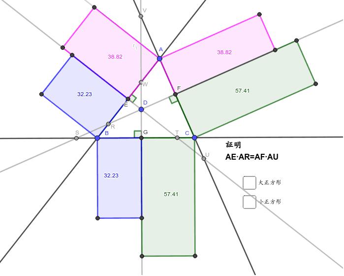 ここからピタゴラスの定理を導くためには?     Dを頂垂線にもっていく。 ∠Cを90度にする。