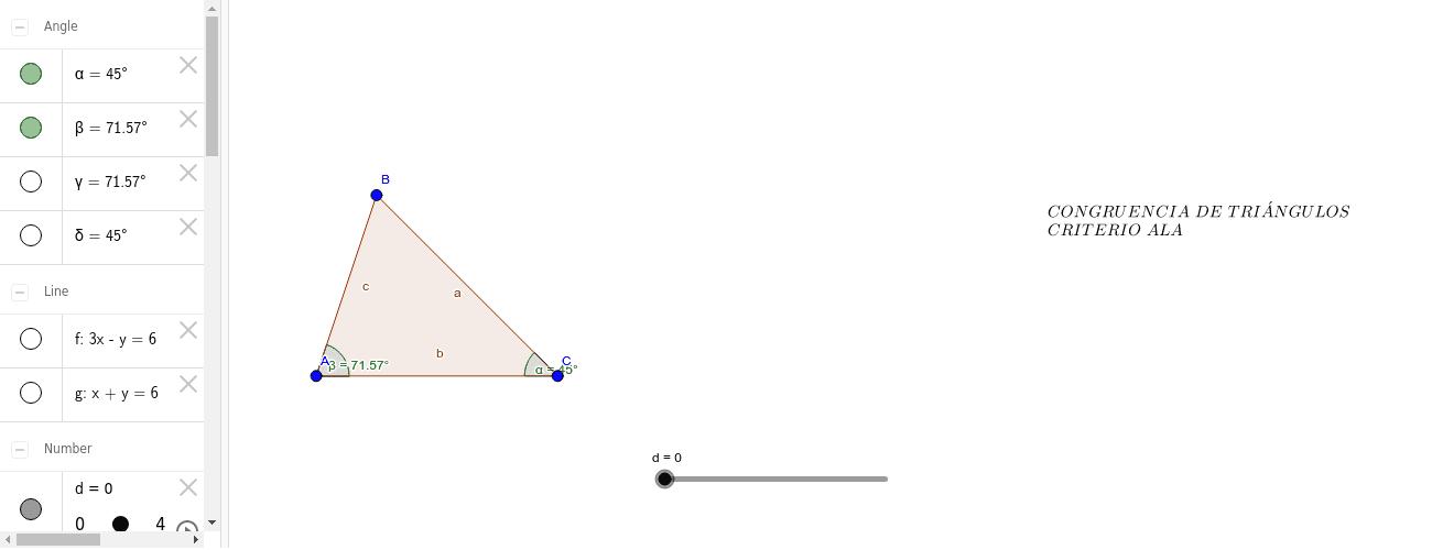 Aplicación Criterio ALA dado un triángulo
