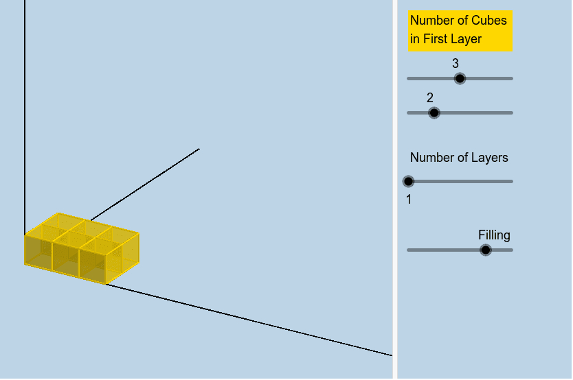 In the interactive below make a cuboid with a volume of 8.  Press Enter to start activity