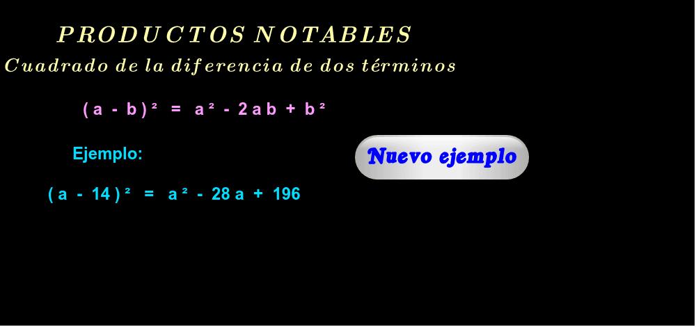 """Ejemplos ( haga click en """"Nuevo ejemplo"""" )."""