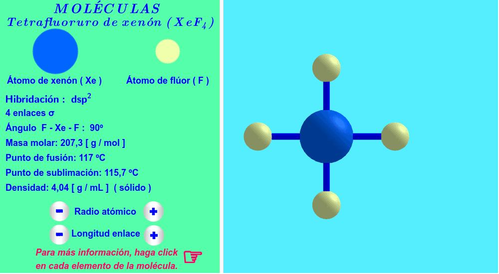 Hibridación dsp2 ( haga click en cada elemento de la molécula ).