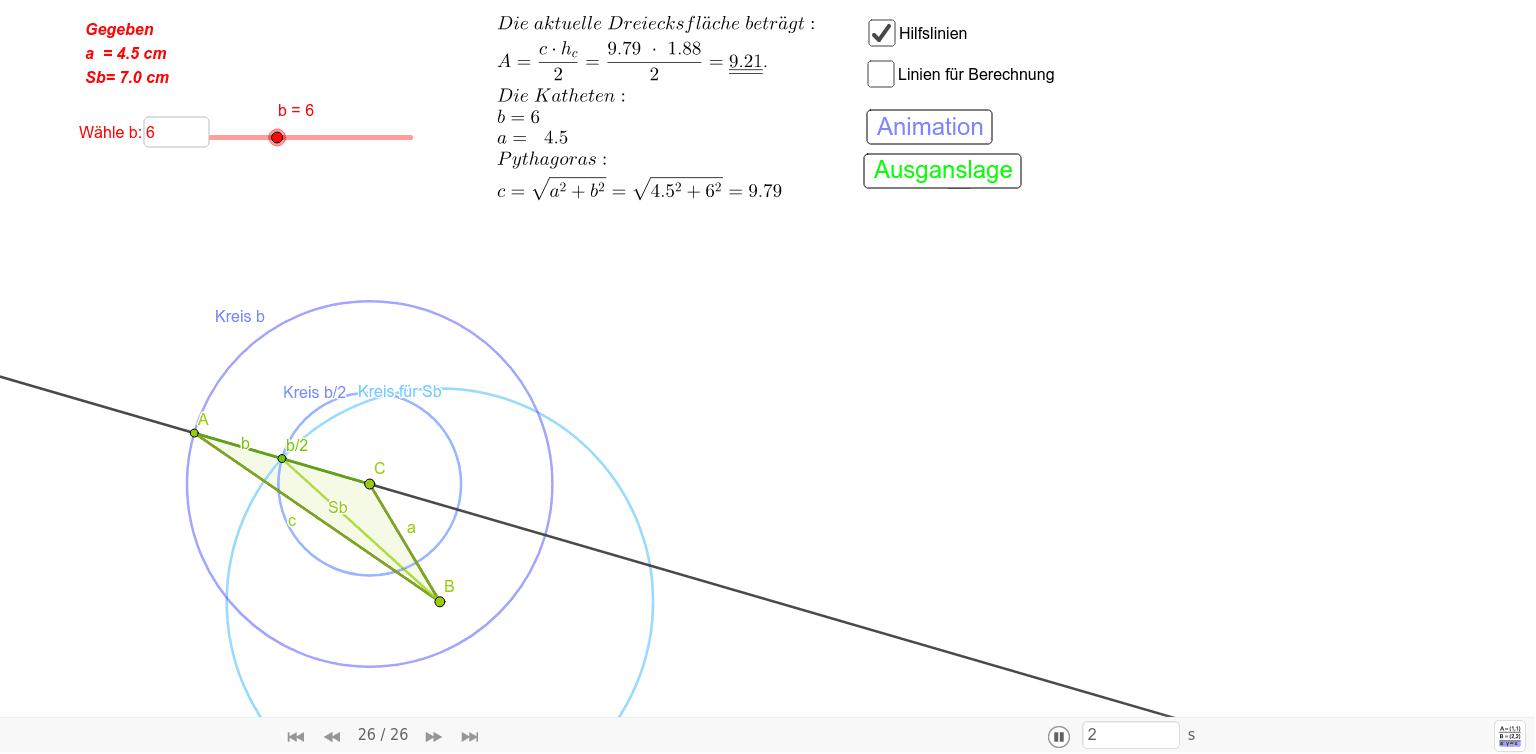 Dreieckskonstruktion: Gegeben a = 4.5 cm, Sb = 7 cm, b= 6 cm und b dynamisch