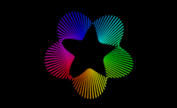 Rainbow Möbius bands animation with segments